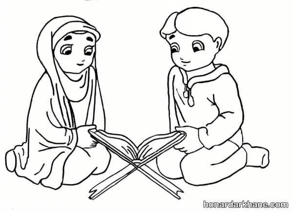 مدل نقاشی قرآن خواندن