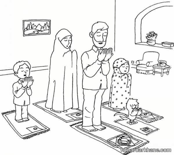نقاشی درباره ماه رمضان و نماز