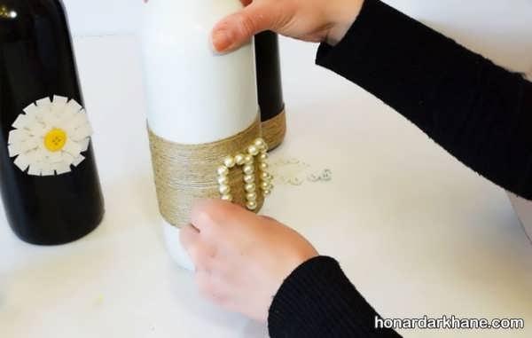 تزیین روی بطری با نخ کنفی