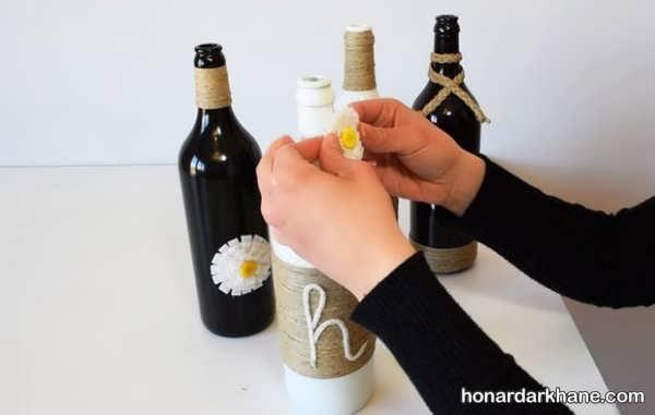 تزیین بطری با گل و نخ
