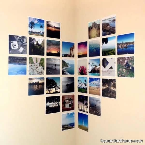 تزیین دیوار با عکس به شکل قلب