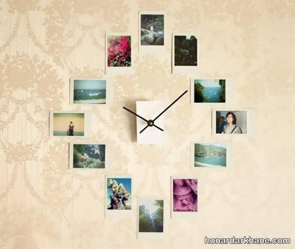 تزیین عکس روی دیوار به شکل ساعت