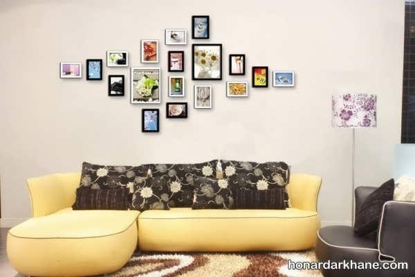 تزیین دیوار اتاق پذیرایی با عکس