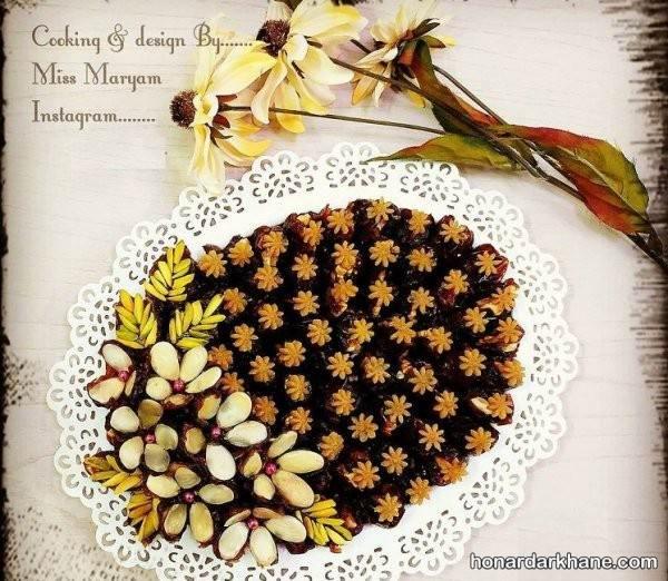 تزیین خرما با حلوا و بادام