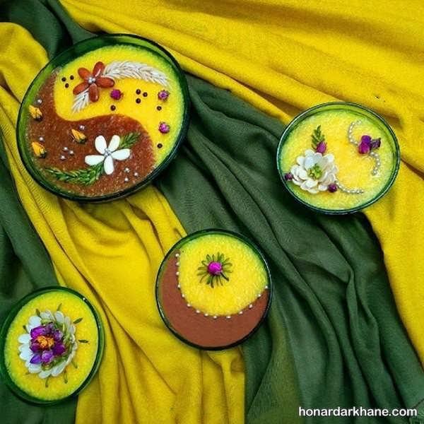 تزیین شله زرد مجلسی با گل محمدی