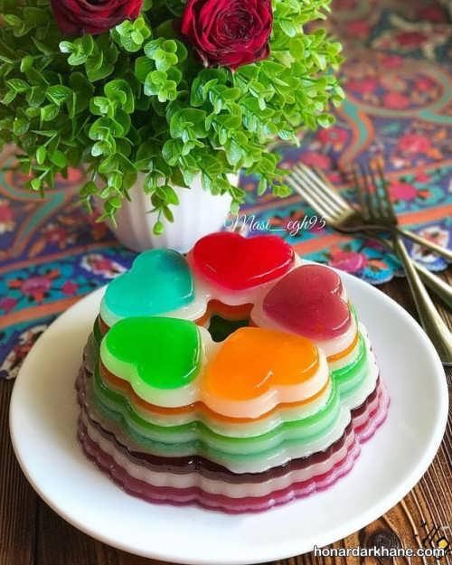 ژله رنگین کمان با بستنی