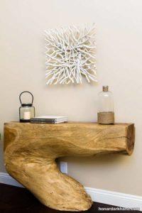 ساخت دکوری چوبی با تنه درخت