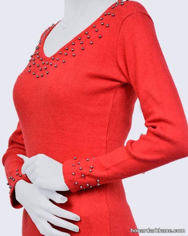 مدل مروارید دوزی روی یقه بلوز