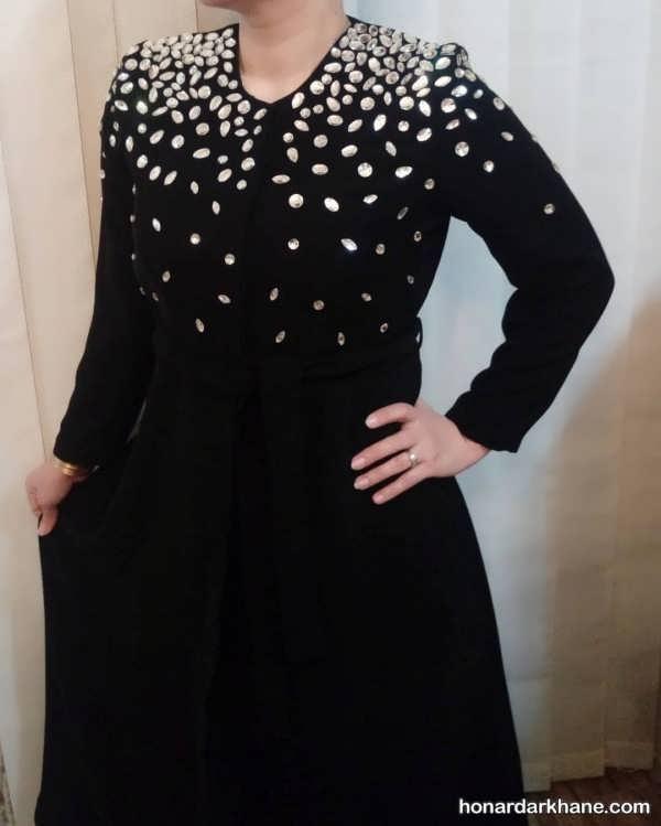 تزیین یقه لباس با مروارید