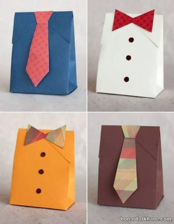 تزیین کادو به شکل پیراهن مردانه