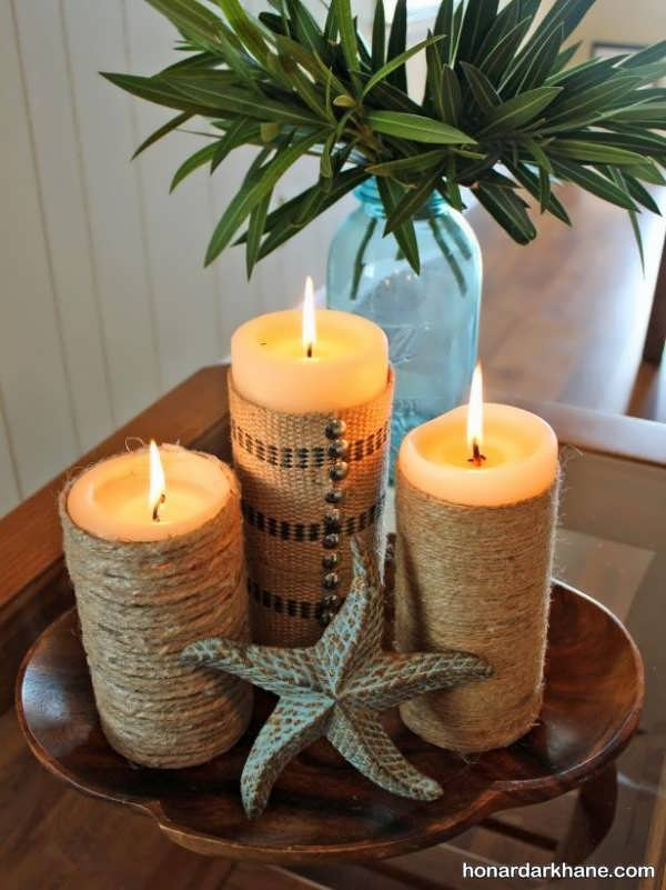 تزیین شمع با نخ کنف