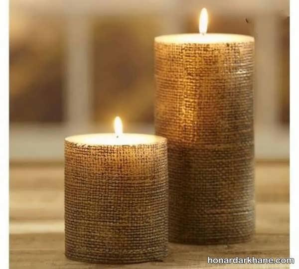 تزیین شمع با گونی