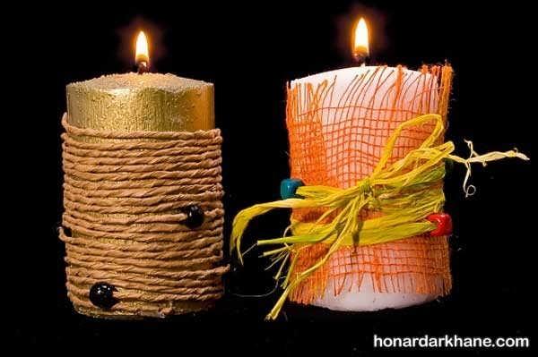 تزیین شمع با کنف