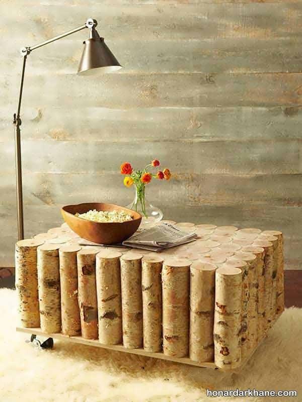 خلاقیت با میز چوب های ساده