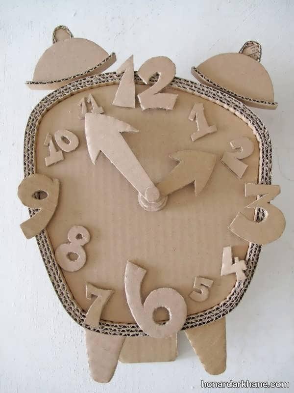 کاردستی ساعت با کارتن