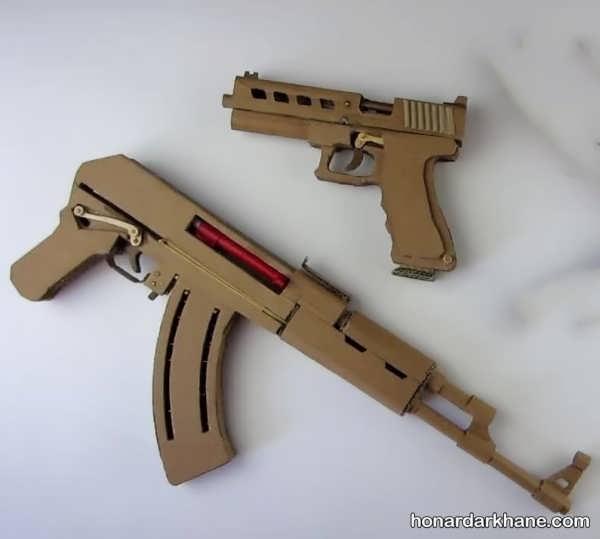 کاردستی تفنگ با کارتن