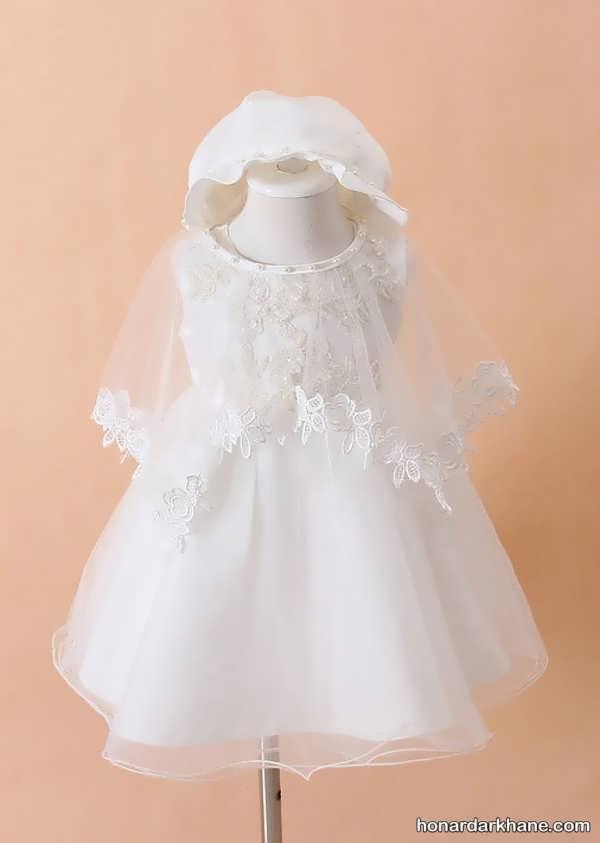 لباس عروس نوزادی سفید