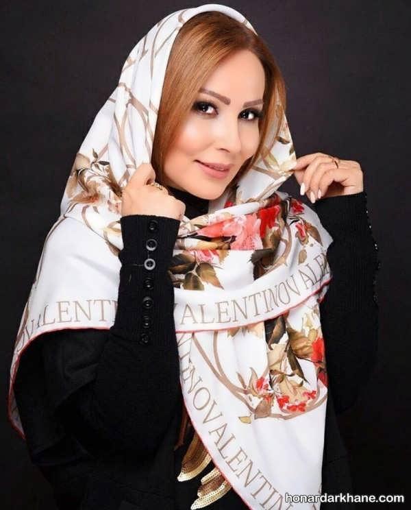 مدل مو زیر شال و روسری برای صورت های گرد و لاغر