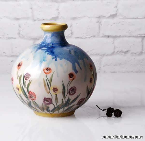 مدل نقاشی روی گلدان سفالی ساده