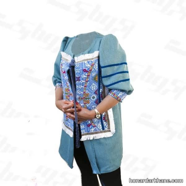 مدل سوزن دوزی روی مانتو مجلسی