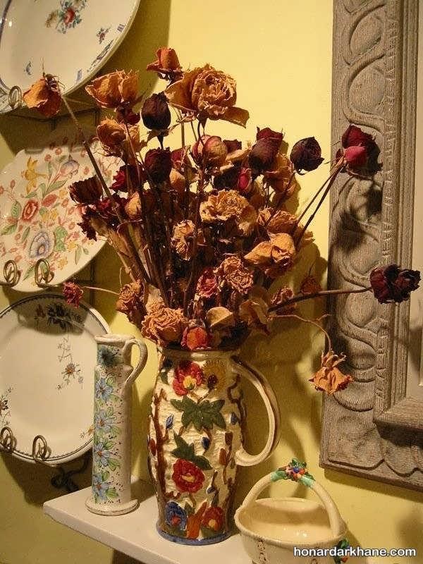 تزیین گلدان گل خشک
