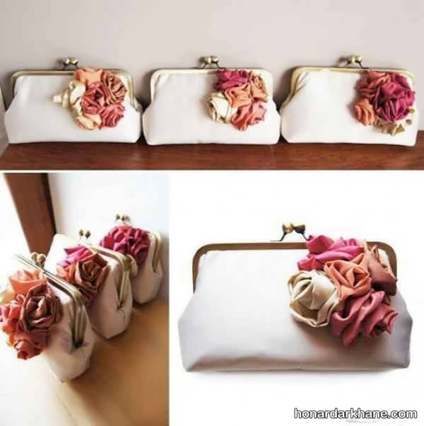 تزیین روی کیف با گل پارچه ای