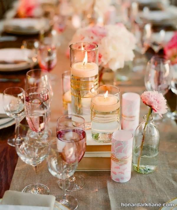تزیین میز با گل و شمع