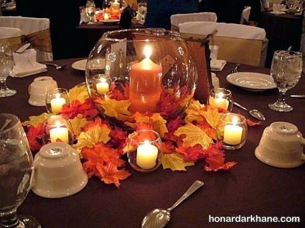 تزیین روی میز با شمع