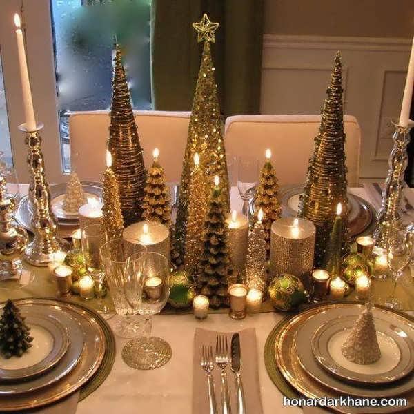 تزیین میز ناهار خوری با شمع