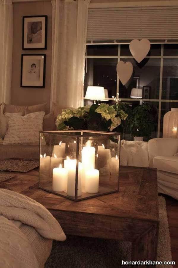 تزیین میز با انواع شمع استوانه ای