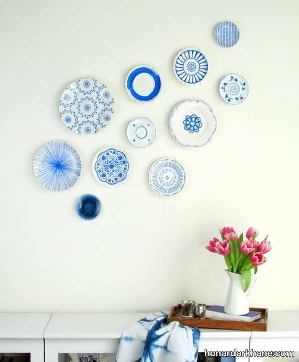 بشقاب دیواری آبی و سفید