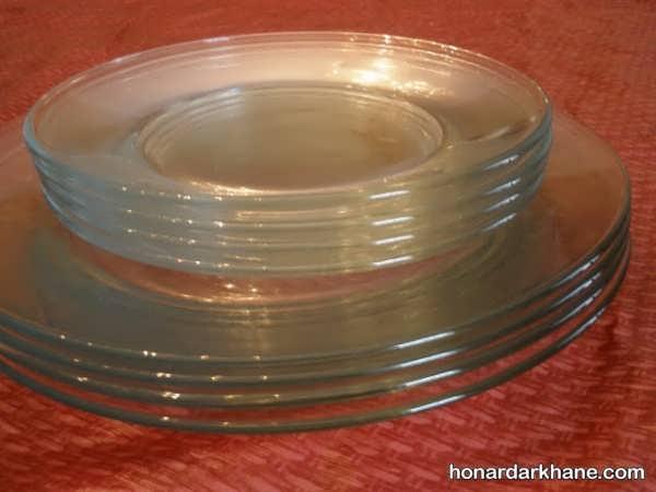 تزیین بشقاب شیشه ای ساده