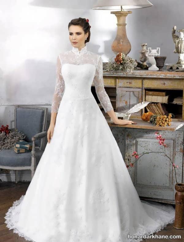 لباس عروس آستین گیپور جدید