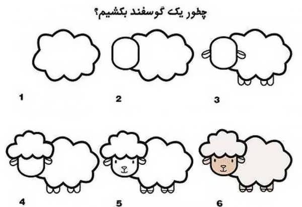 مراحل کشیدن نقاشی گوسفند