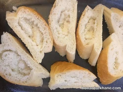 تهیه نان سیر با نان باگت