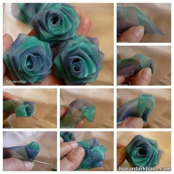 مراحل ساختن گل با روبان