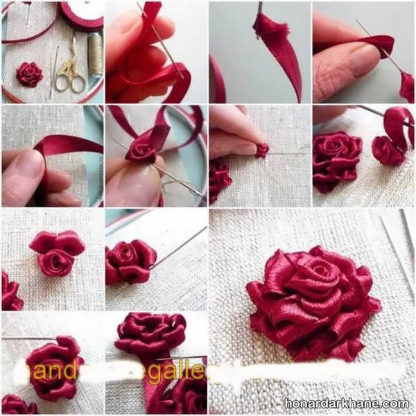 آموزش ساختن گل روبانی زیبا