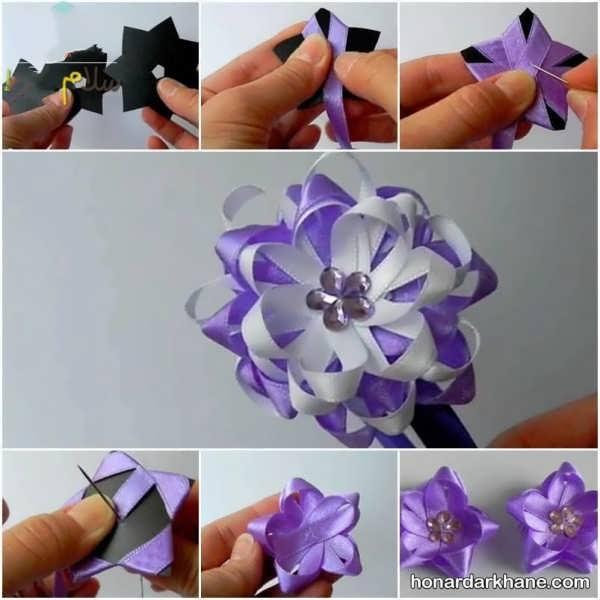 ساخت انواع گل با روبان