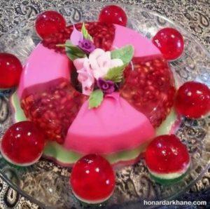 تزیین ژله و دسر با میوه
