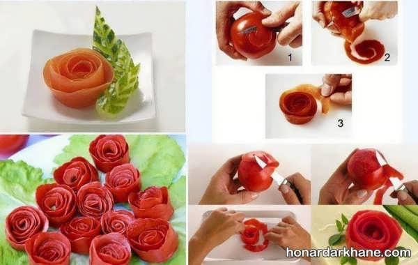 برش گوجه به شکل گل رز