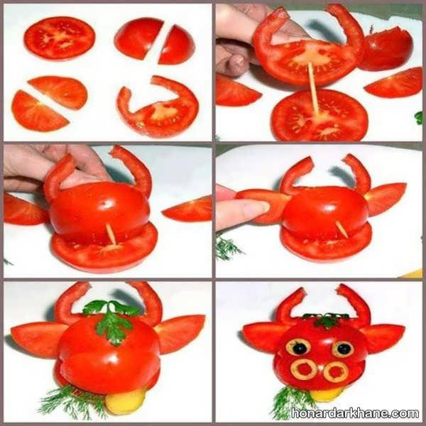 تزیینات گوجه فرنگی برای بچه ها