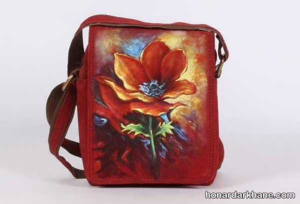 نقاشی روی کیف های چرمی
