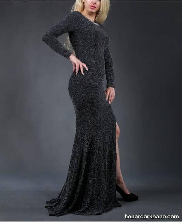 مدل پیراهن بلند با پارچه لمه مدل لباس مجلسی لمه شنی، انتخابی برای بانوان شیک پوش و به روز