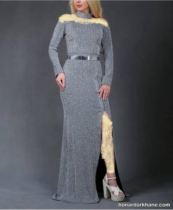 مدل پیراهن بلند با پارچه لمه مدل لباس مجلسی لمـه شنی، انتخابی به منظور بانوان شیک پوش و ...