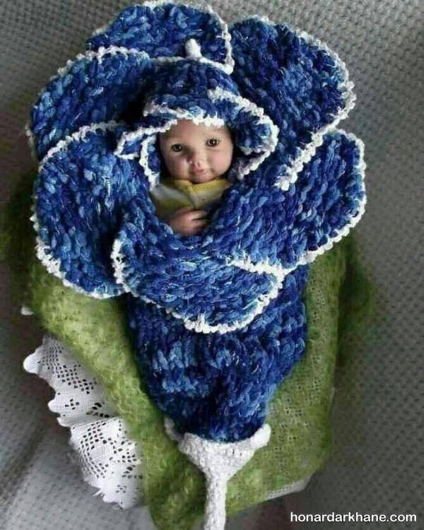 پتو بافتنی مدل گل