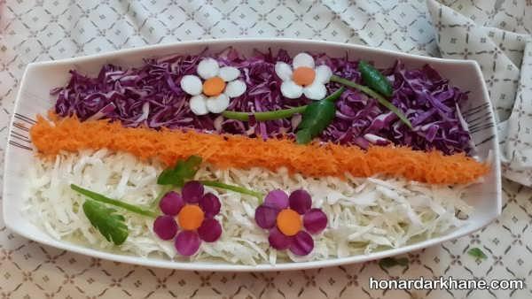 تزیین سالاد ساده با کلم و هویج