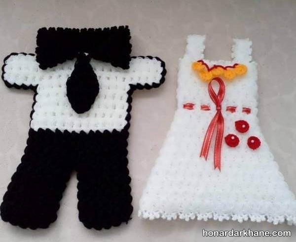 لیف بافتنی برای عروس و داماد