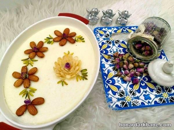 شیر برنج مجلسی با تزیین زیبا