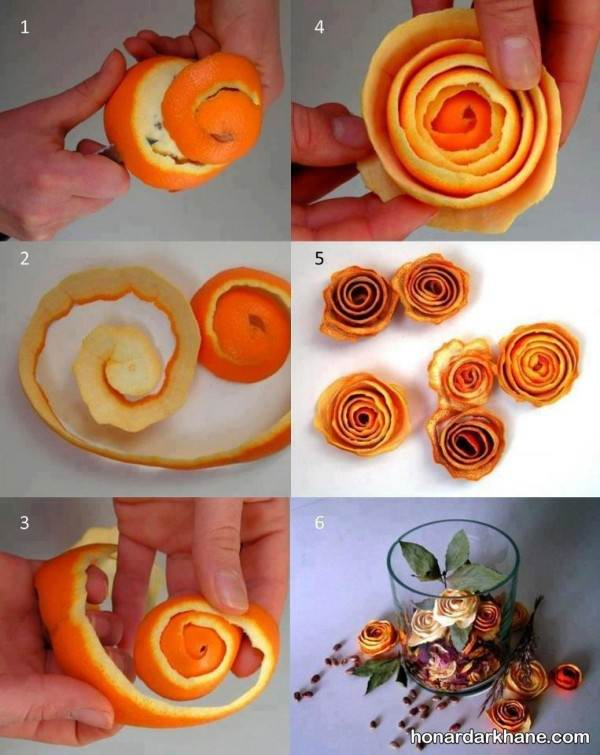 ساخت گل با پوست پرتقال
