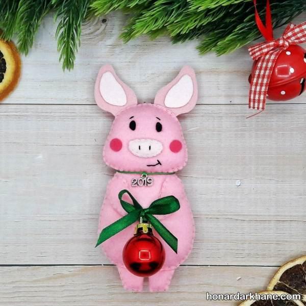 ساخت عروسک خوک نمدی